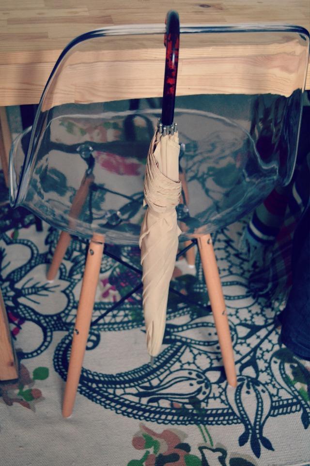 ghost chair, vintage umbrella