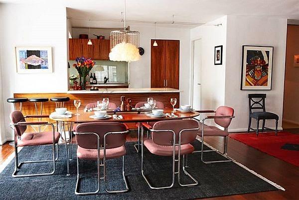 comedor con sillas retro vintage de acero cromado