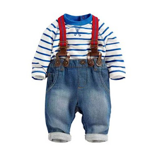 PanDaDa Baby Boys Pants Sets Striped T-shirt Top Jeans I am a big baby a