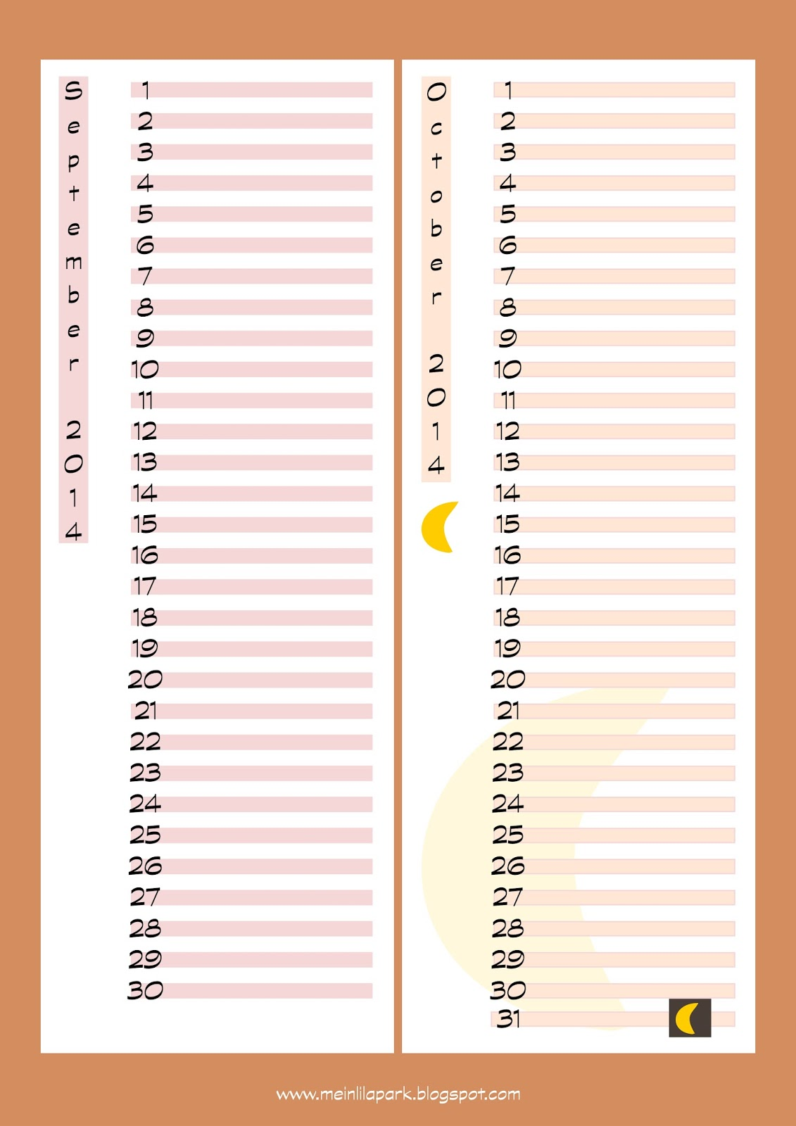 free printable September and October planner