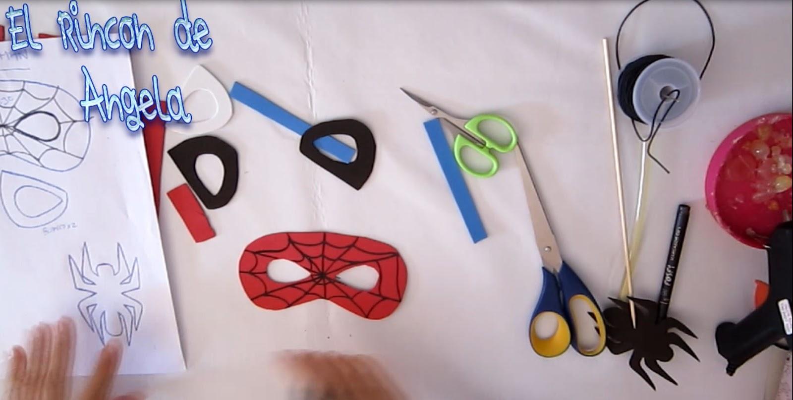 como hacer mascara y dulcero de spiderman, hombre araña, para