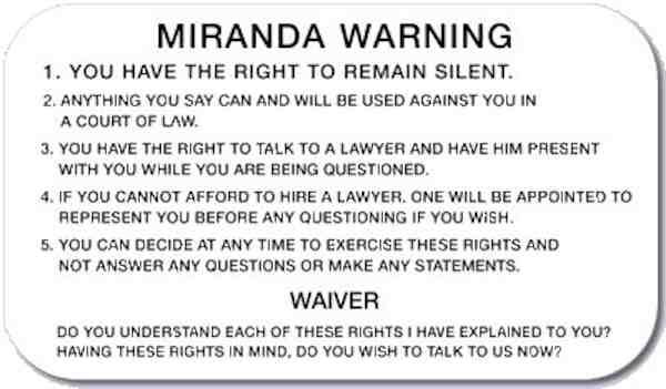Miranda v arizona date in Perth