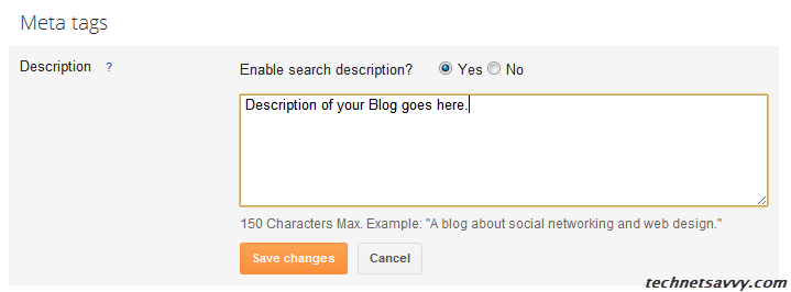 BlogSpot Search Meta Description