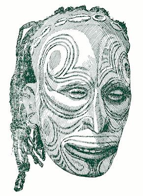 Cráneo recubierto de barro, modelado y pintado, de Nueva Guinea.