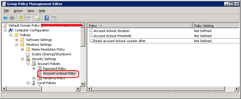 Account Lockout Policy in Active Directory