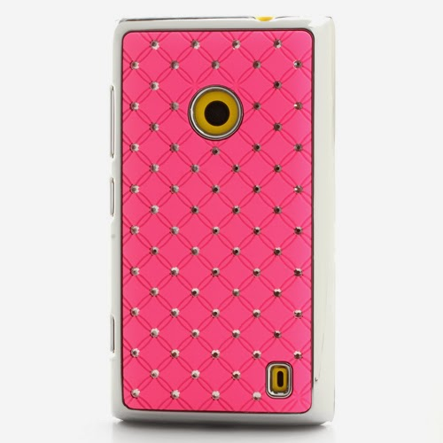 Bling Diamond Starry Sky Plated Hard Case for Nokia Lumia 520 525 - Pink