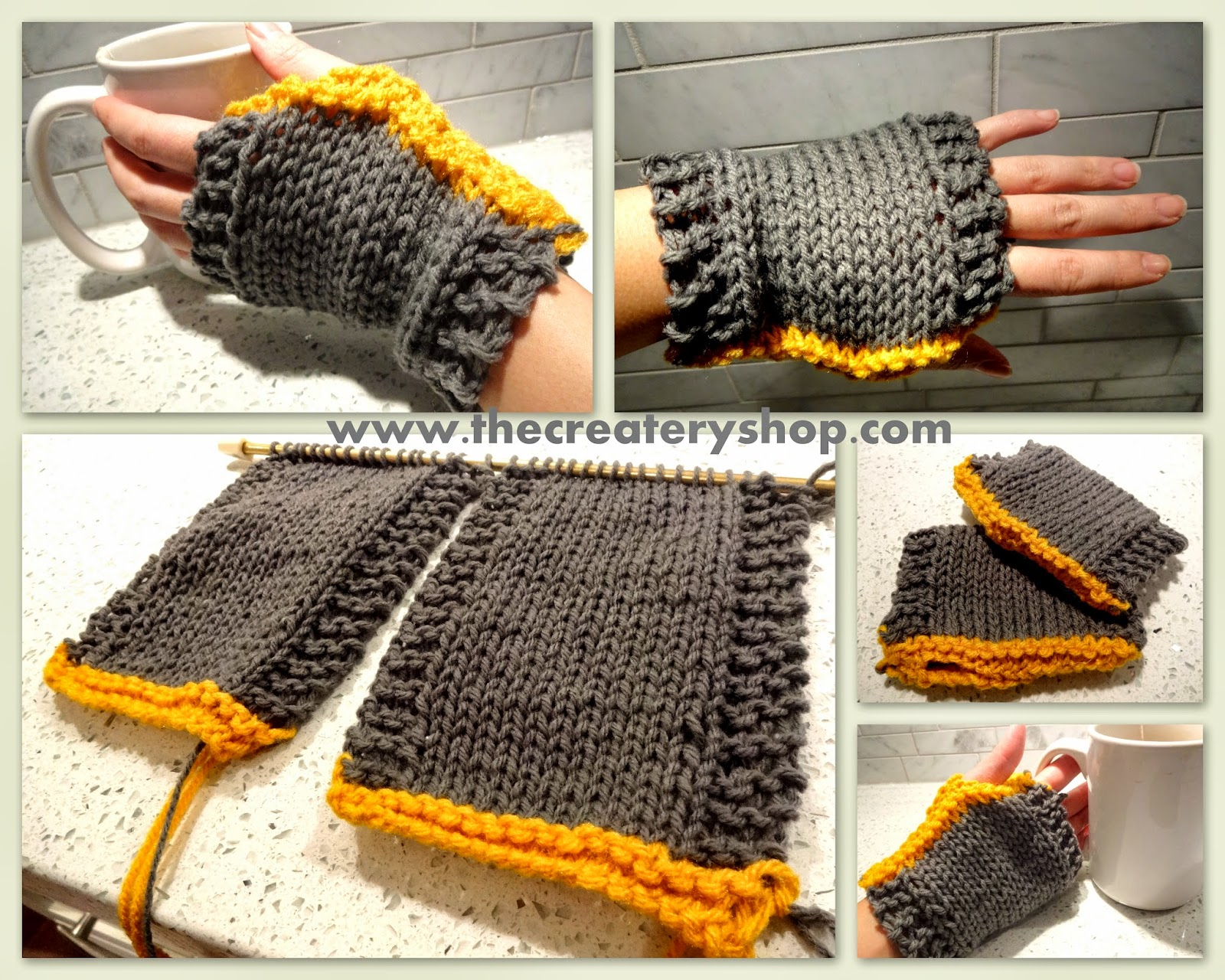 The Createry Shop: Easy Sporty Hand Warmers Free Knitting Pattern