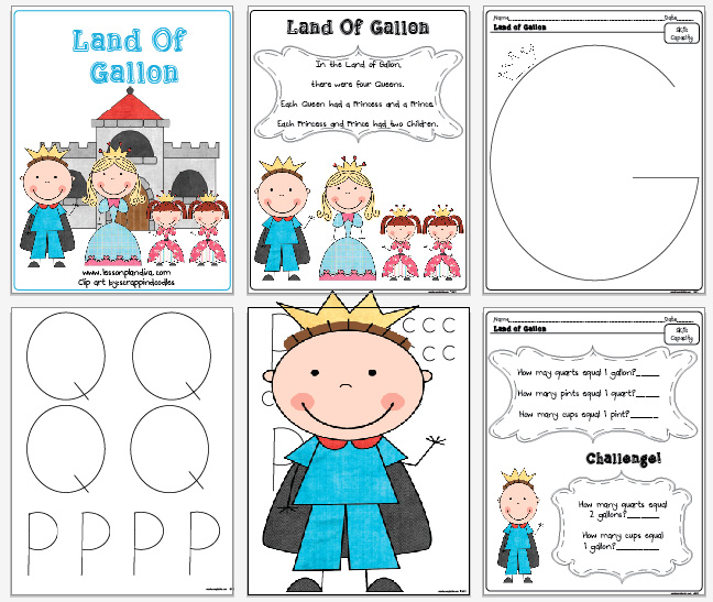Freebie! The land of Gallon! - The Lesson Plan Diva