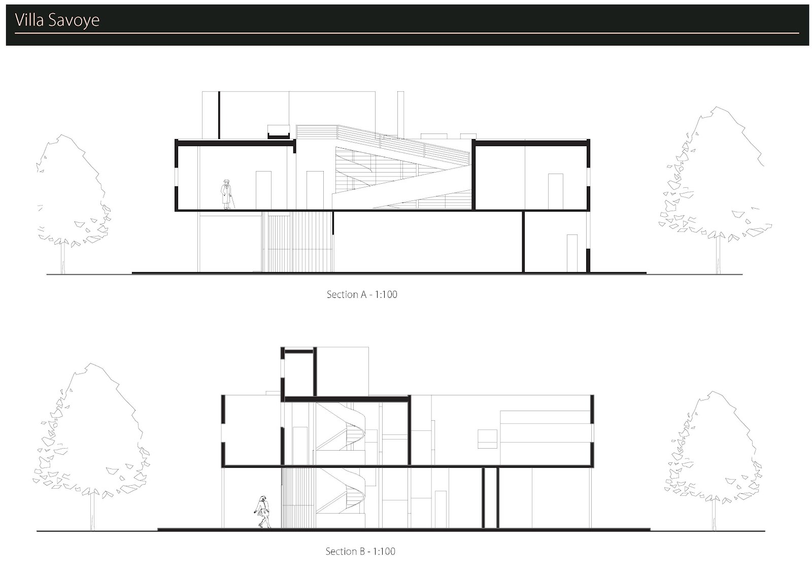 Arch1201 Villa Savoye Draft Drawings on Plan Section Elevation Drawings