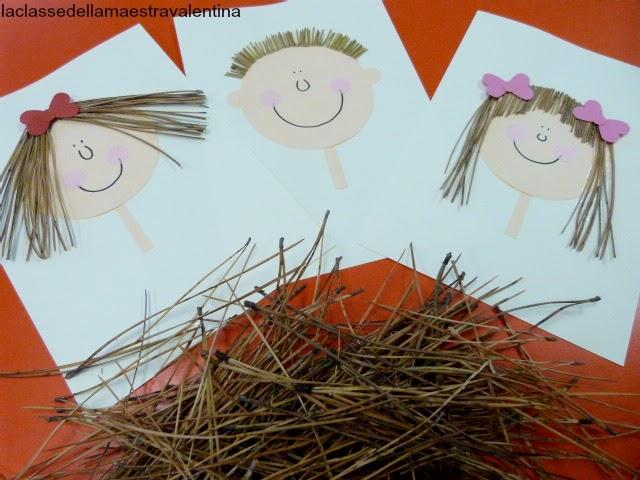 Tres hojas con una cara de niño y/o niña cuyo pelo son agujas de pino.