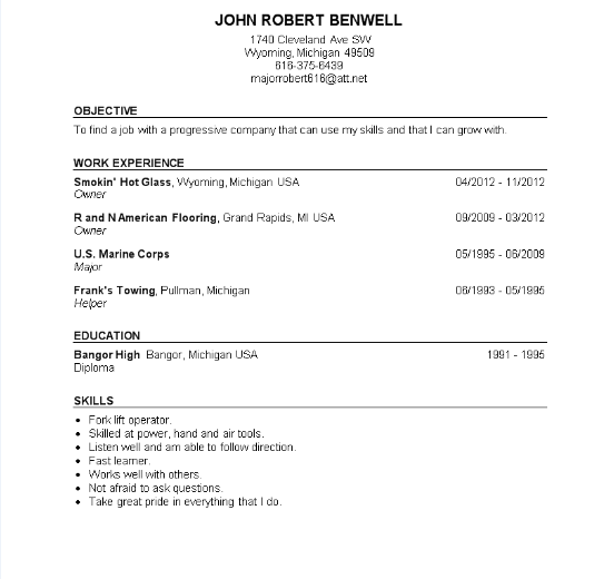 resume format resume for marine corps veteran