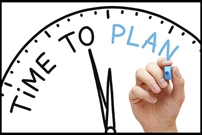 "image of a clock, text: ""Time to plan."""
