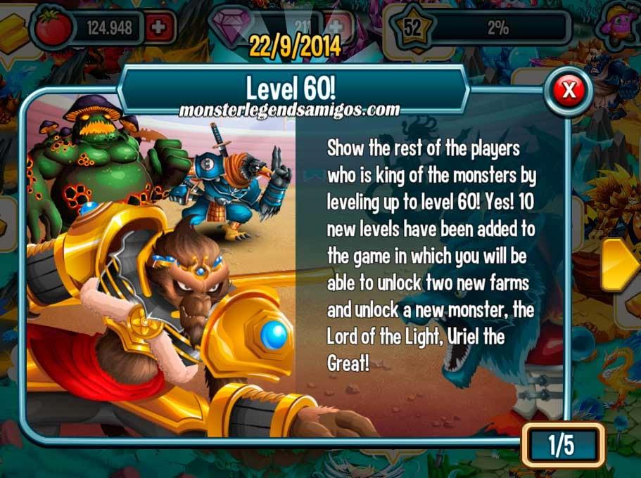 imagen de la nueva actualizacion de los niveles de monster legends