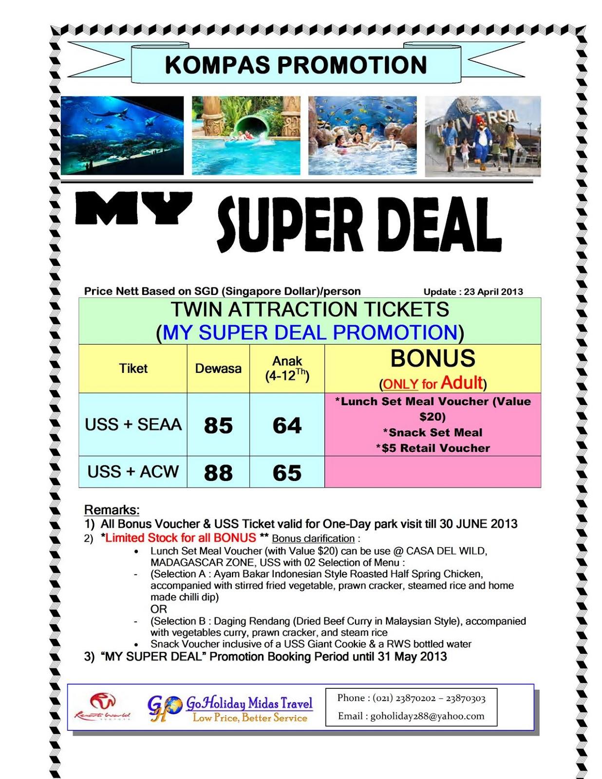 Gho Holiday Travel Super Deal Paket Universal Studio Sea Tiket Singapura Anak Aquarium Adv Cove Waterpark