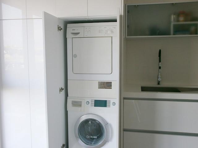 El blanco en la cocina una apuesta segura cocinas con - Mueble para lavadora y secadora ...