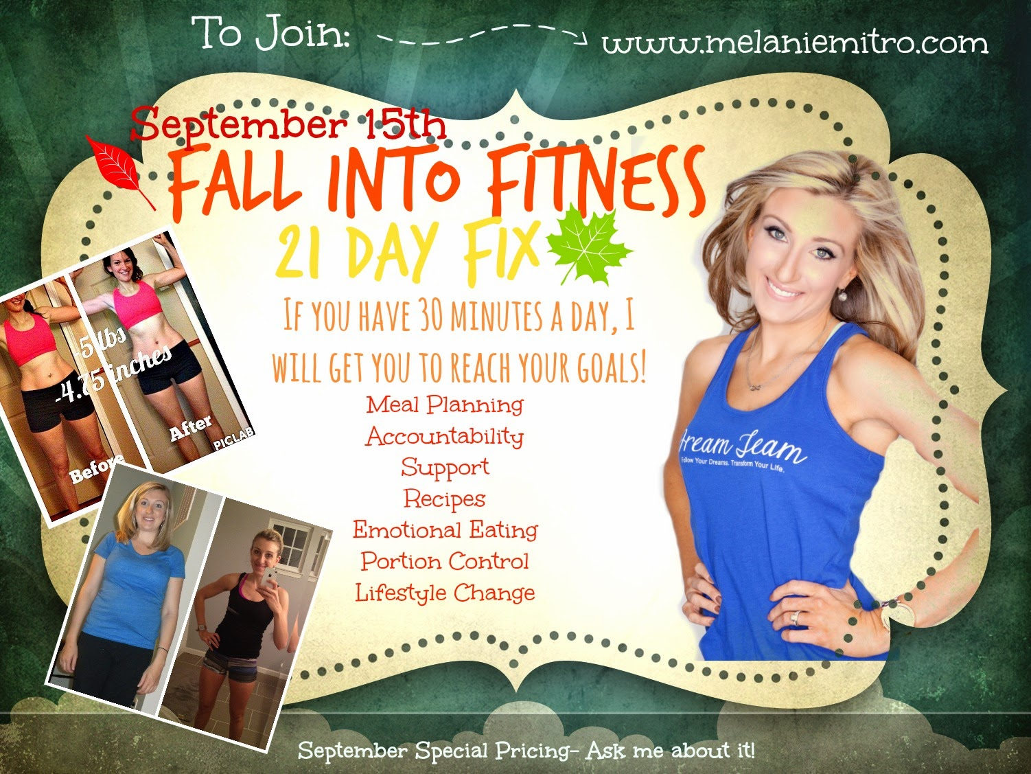 The 21 Day Fix is on sale, September, 21 Day Fix, Support Group, Accountability, Melanie Mitro