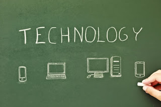 Image of technology tools drawn on a chalkboard