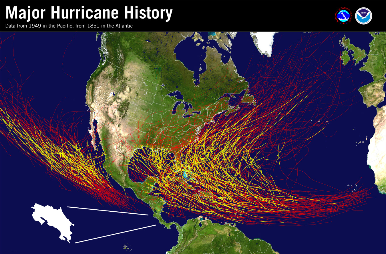 map showing how infrequently costa rica feels the major effects of hurricanes the last major hurricane to hit the area was hurricanes caesar 1996 and