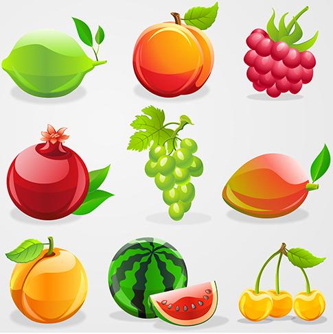 Frutas brillantes y acristaladas 2.0 vectoriales