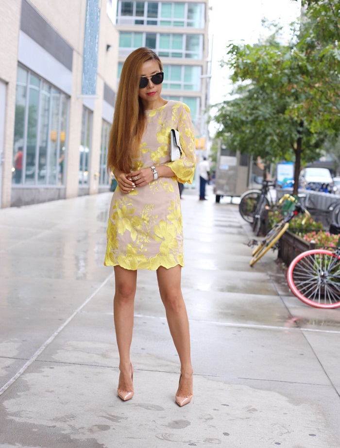 dress the population paige metallic embroidered chiffon shift dress, christian louboutin so kate pumps, medusa clutch, hermes bracelet, prada retro sunglasses, chanel earrings, street style, nyfw, new york fashion week, fashion blog, nyc blogger, yellow dress