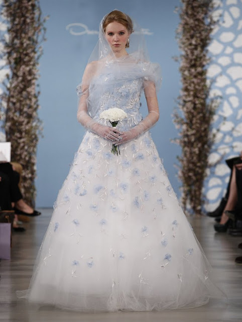 Oscar de la Renta Spring 2014 white blue Wedding Dresses