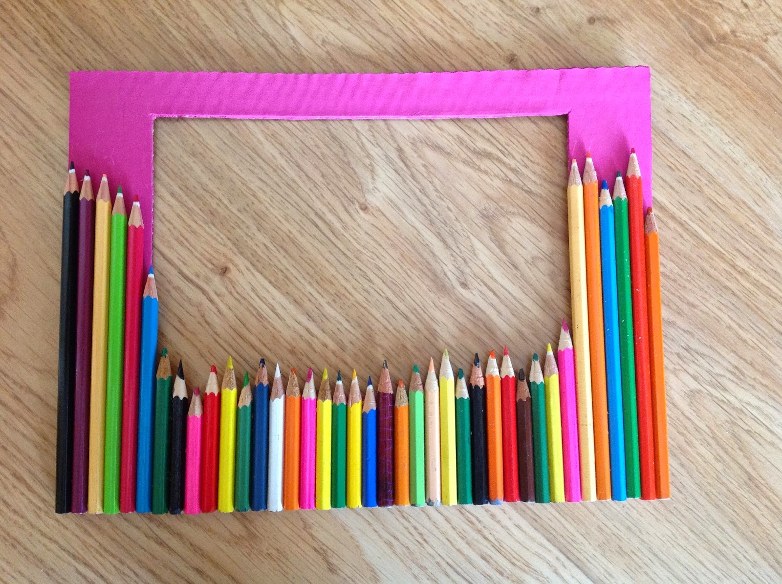 coloring pencils photo frame, tutorial, kids
