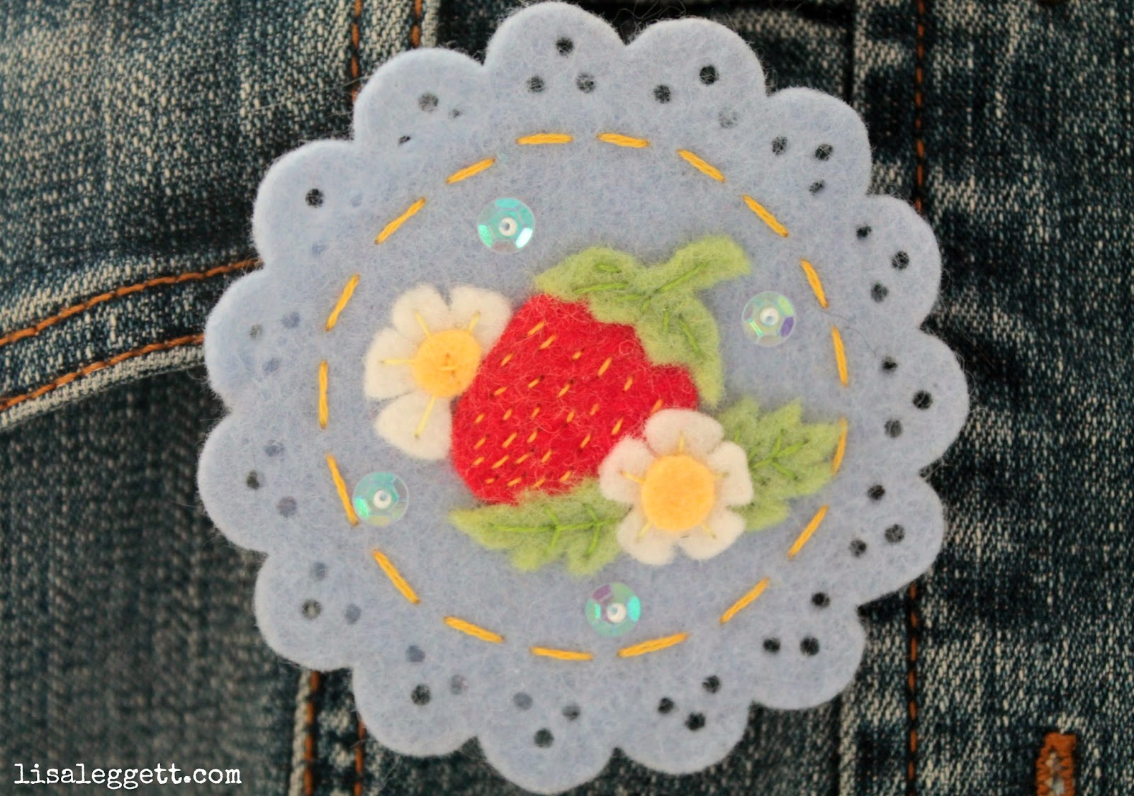 Strawberry Felt Broach by Lisa Leggett