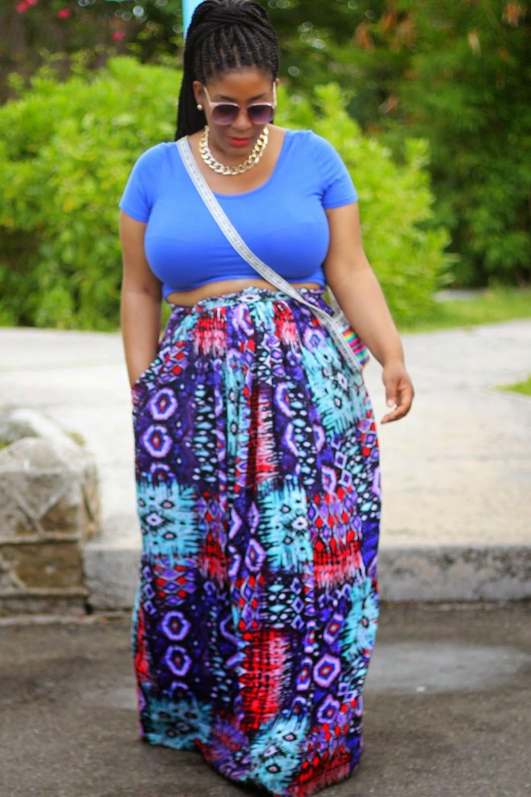 Plus size Maxi Skirt: All print