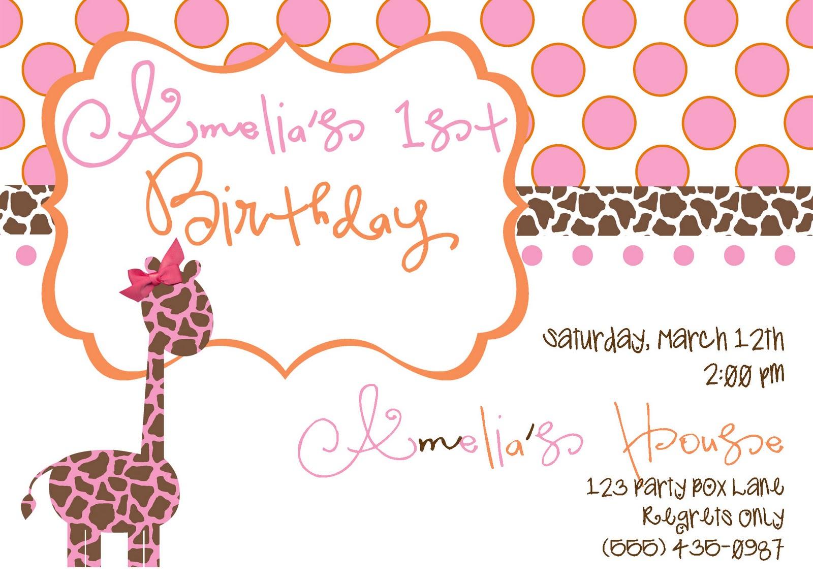 Pretty Giraffe Party Invitations Photos - Invitation Card Ideas ...