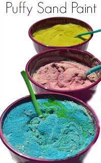 Kid Made Puffy Sand Paint- making the paint is so fun for kids and it is great for sensory play and art activities.