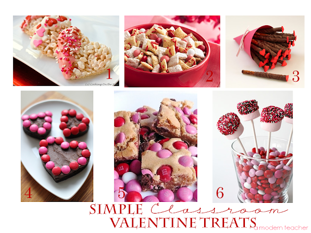 Simple Classroom Valentine Treats Food www.amodernteacher.com