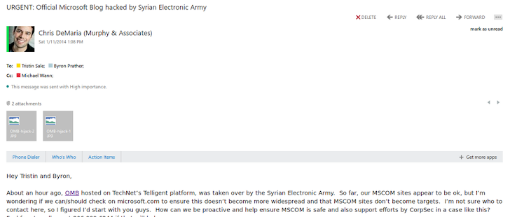 Microsoft Official Blog and Twitter account hacked by Syrian Electronic Army