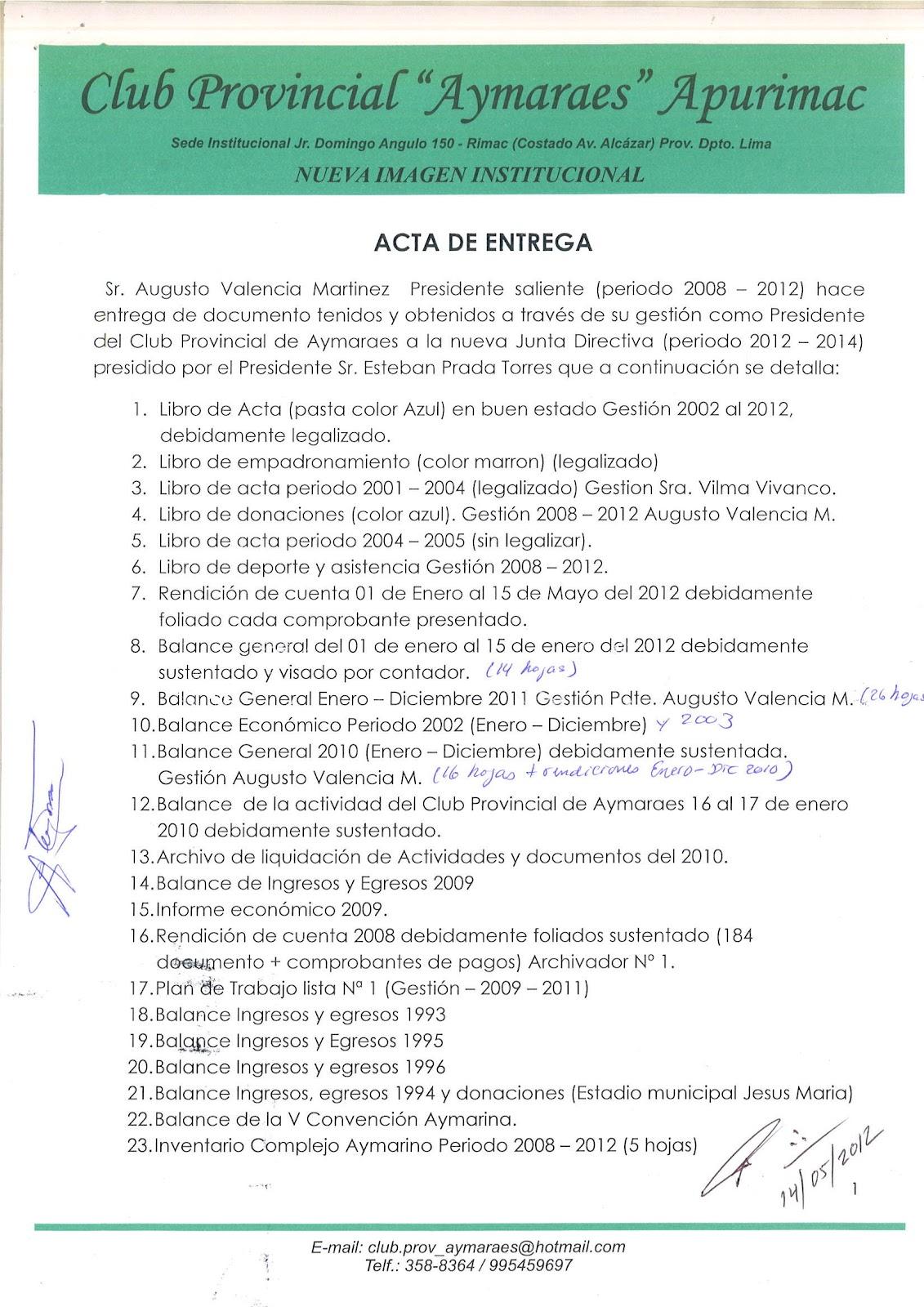 CLUB PROVINCIAL DE AYMARAES: mayo 2012