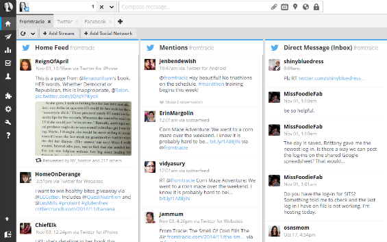 Twitter streams in Hootsuite