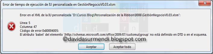 El error producido porque la propiedad babel no existe detectado en Excel