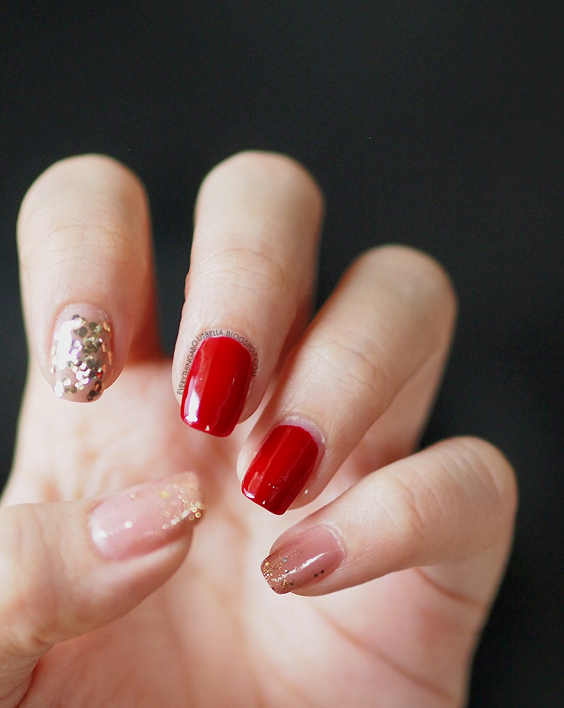 Nail: Red, Pink Nude, Glitter