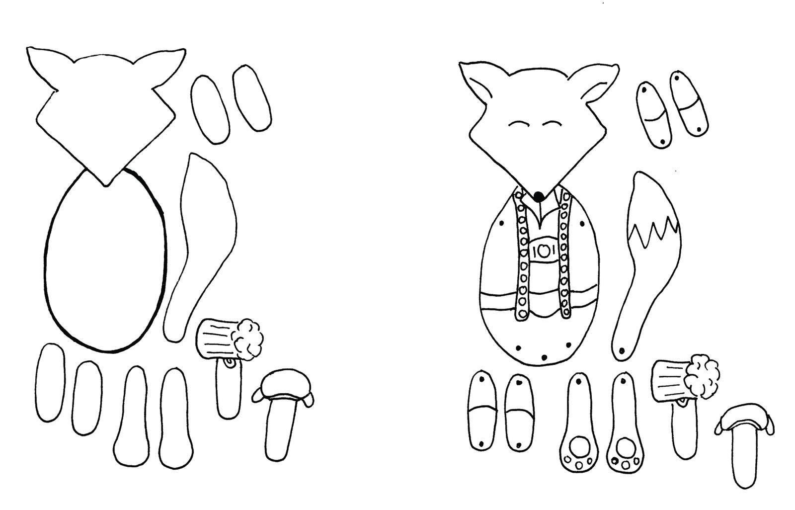 Little Gray Fox What I Made Wednesday Paper Doll Tutorial Template