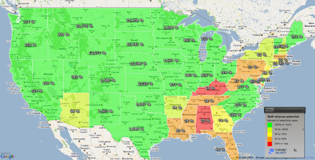 Map of how self-reliant states can be from renewable energy