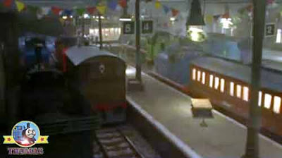 Decorated station Thomas and friends Toby tram express Gordon James and Percy Emily the tank engine