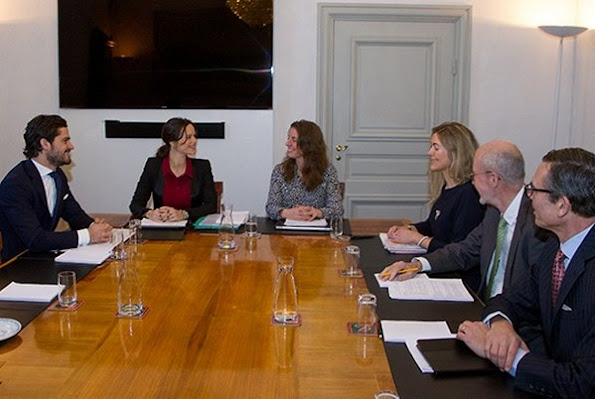 Prince Carl Philip of Sweden and Princess Sofia of Sweden attended the board meeting of the Foundation of Prince Couple. Sofia Ewerlöf, Karin Mattson Weijber, Per Stenbeck and Jan Lindman