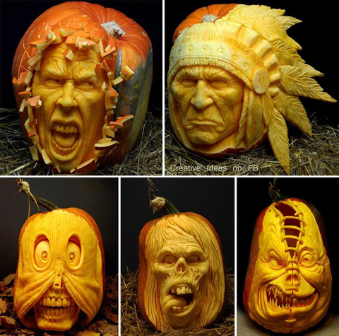 Pumpkins sculptures by Ray Villafane