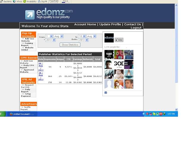 Edomz Earning reports