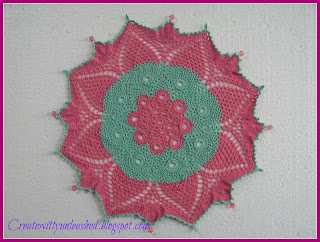 Crochet colorful doily with beads 3
