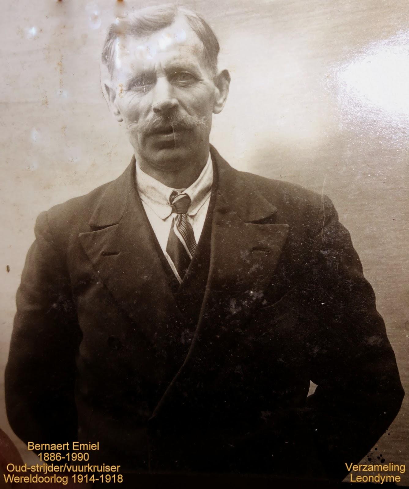 Oud-strijder/vuurkruiser Emiel Bernaert 1886-1990. Foto uit het Koninklijk Museum van het Leger en de Krijgsgeschiedenis Brussel