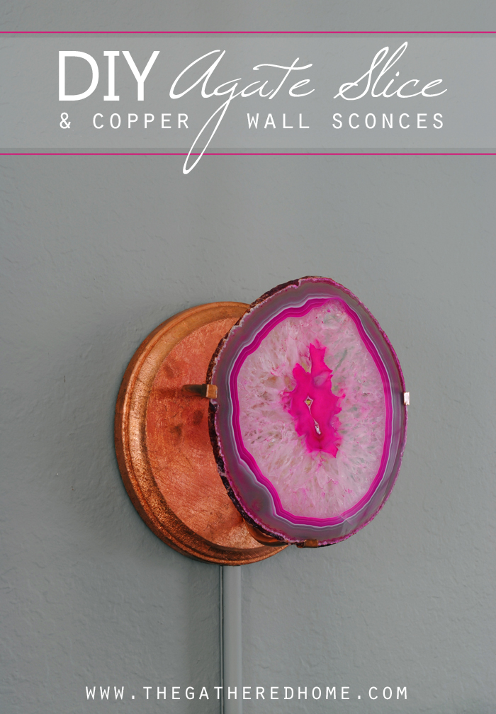 DIY Agate Slice and Copper Wall Sconce | www.thegatheredhome.com #tutorial #DIY #lighting