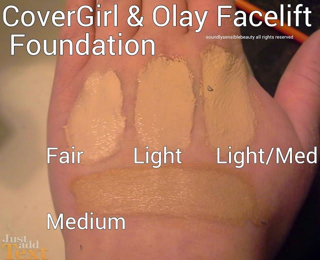 CoverGirl & Olay Facelift Effect Firming Foundation Shades, Swatches, and Review of Fair, Light, Light Medium