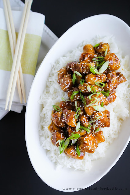 Gorgeous Orange Chicken!  This recipe only take about 20 minutes to make and tastes WAY better than any take out!  |  mynameissnickerdoodle.com