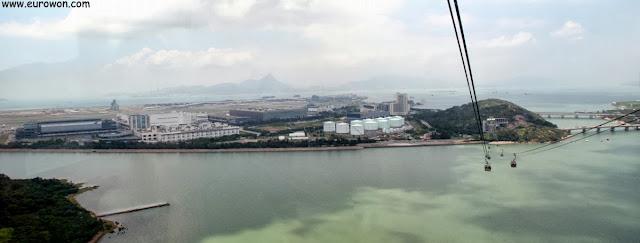 Aeropuerto Internacional de Lantau visto desde el teleférico