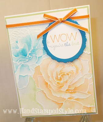 Manhatten Embossing Folder-Stampin' up!-water color technique-Big Shot project
