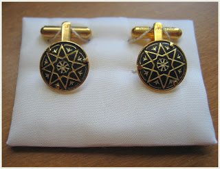 damascene cuff links, damasquinado de oro cuff links, serendipity handamde